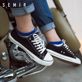 Semir 森马 19316412028 中性帆布鞋 黑色 36