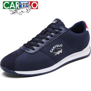 CARTELO 卡帝乐鳄鱼 KDL2651 男士板鞋阿甘鞋 蓝色-布面 43