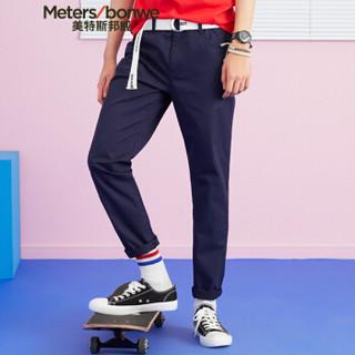 Meters bonwe 美特斯邦威 602797 男士织带休闲长裤 深军蓝 170/76