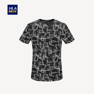 HLA 海澜之家 HNTBJ2E142A 男士印花短袖T恤 黑色花纹 52