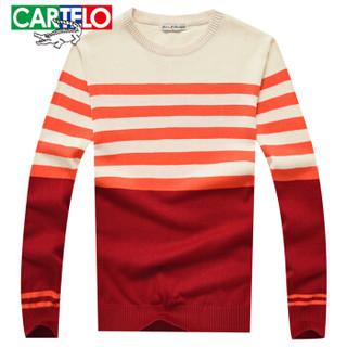 CARTELO 16018KE1201 男士条纹拼接长袖针织衫 橙红 XL