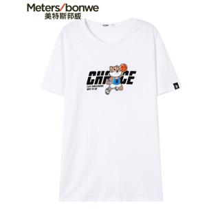 Meters bonwe 美特斯邦威 661327 男士卡通印花短袖T恤 亮白 175/96
