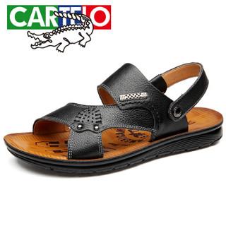 CARTELO 卡帝乐鳄鱼 9013 男士套脚凉拖鞋 黑色 42