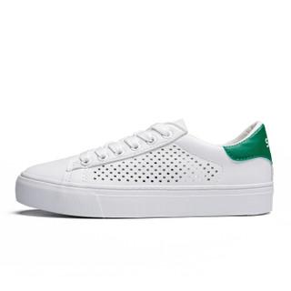 Semir 森马 WG797193 女士镂空小白鞋 白绿色 36