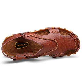 CARTELO 卡帝乐鳄鱼 1806 男士包头凉鞋 棕色 38