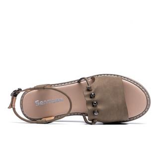 Semir 森马 528211811 女士罗马一字扣凉鞋 卡其色 37