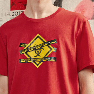 A21 4821330025 男士印花短袖T恤 大红 L