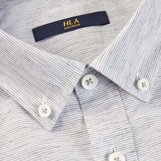 HLA 海澜之家 HNECJ2E018A 男士撞色条纹休闲短袖衬衫 浅灰条纹 39