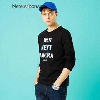 Meters bonwe 美特斯邦威 661075 男士字母印花长袖T恤 影黑 175/96