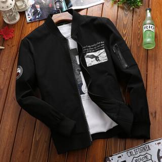 ZHAN DI JI PU 58132 男士立领休闲长袖夹克 黑色 2XL