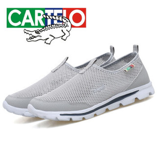 CARTELO 卡帝乐鳄鱼 KDL616 男士一脚蹬网鞋 浅灰 40
