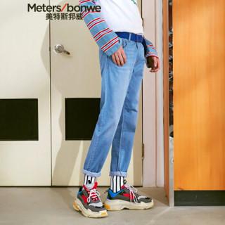 Meters bonwe 美特斯邦威 602770 男士直筒牛仔长裤 浅蓝 170/78