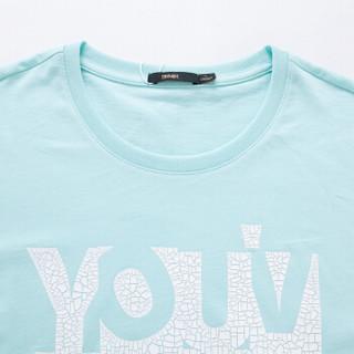 Semir 森马 19037001210 男士字母印花T恤 粉绿 L