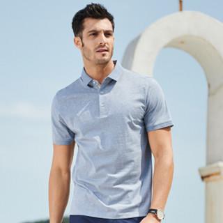 FIRS 杉杉 DDX1808-31 男士休闲几何图案短袖T恤 灰蓝色  180