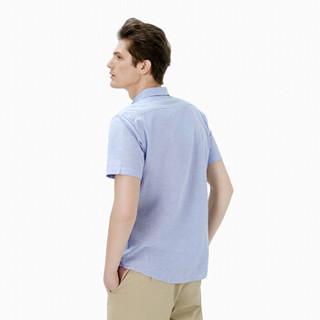 InteRight 男士45雨露麻棉净色短袖衬衫 (39码、浅蓝色)