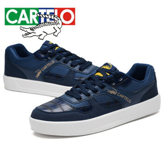CARTELO 卡帝乐鳄鱼 KDL806 男士英伦板鞋 深蓝 40