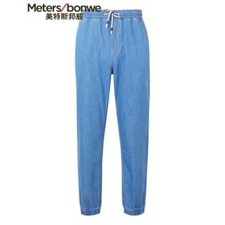 Meters bonwe 美特斯邦威 602843 男士休闲抽绳九分牛仔长裤 浅蓝 170/76