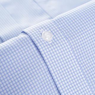 INTERIGHT 免熨烫  商务男款 长袖衬衫 浅蓝小格纹 42码