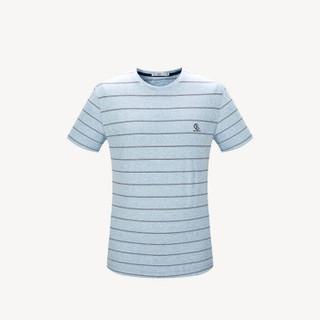 HLA 海澜之家 HNTBJ2E195A 男士条纹短袖T恤 蓝灰条纹 54