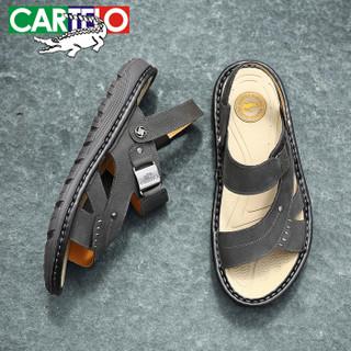 CARTELO 卡帝乐鳄鱼 KDLBCS12 男士牛皮凉鞋 黑色 43