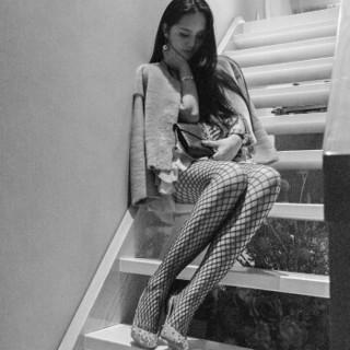 皮尔卡丹网袜女原宿风镂空丝袜牛仔裤必备性感渔网袜丝袜 1条装 黑色均码