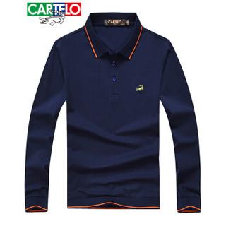 CARTELO 16001KE0902 男士翻领条纹拼接长袖POLO衫 宝蓝 L