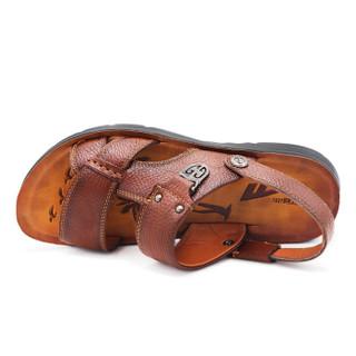 WARRIOR 回力 WXL-3299 男士牛皮凉拖鞋 棕色 39