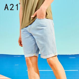 A21 4821023015 男士牛仔短裤 蓝白 34
