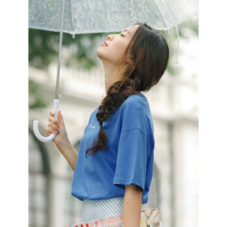 INMAN 茵曼 F1882022967 女士短袖T恤 深蓝色 S
