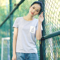 INMAN 茵曼 1882022697 女士短袖T恤 花灰色 L