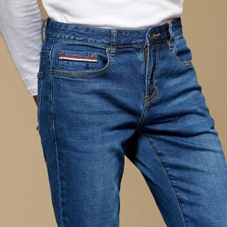 pierre cardin 皮尔·卡丹 203682-4-0800 男士弹力中腰牛仔长裤 蓝色 38