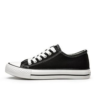 Semir 森马 2122187 女士休闲帆布鞋 黑色 38