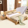 A家家具 床 简约现代 双人床 实木床 木质床原木色 1.5米1.8米 软皮床卧室套装家 1853.6元(需用券)