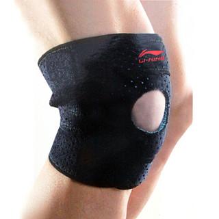 李宁(LI-NING)运动护膝护具 男女款 214加压弹簧支撑护具便捷式可调节短款 跑步登山护腿 单只装