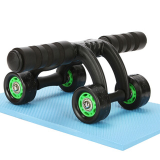 凯速KANSOON仰卧起坐健身器材脚蹬拉力器四轮健腹轮套装皮筋拉绳拉力器腹肌轮套装绿色