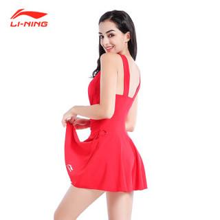LI-NING 李宁 LSLN186 女连体裙式游泳衣 诱惑红色 L