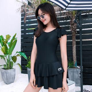 LI-NING 李宁 LSLN302-1 女连体裙式游泳衣 黑色 2XL