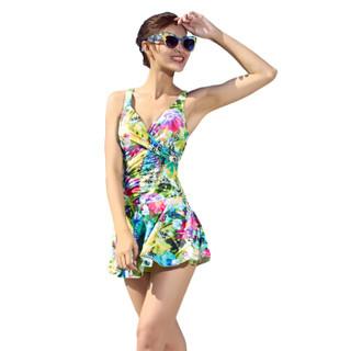 LI-NING 李宁 LSLM014-2 女士连体裙式温泉游泳衣 黄色花 XL