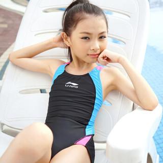 LI-NING 李宁 608 女连体三角训练游泳衣 黑蓝 12号