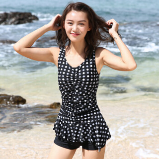 LI-NING 李宁 372 女士温泉波点泳装 黑白圆点 XL