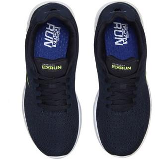 SKECHERS 斯凯奇 男子跑步鞋  54354/NVLM 海军蓝色/柠檬色 39.5