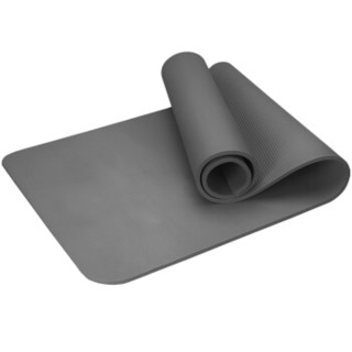 凯速升级防滑瑜伽垫185*80cm加长加宽加厚10mm运动健身垫(含绑带网包)EA033灰色