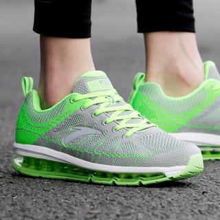 ANTA 安踏 91535501-1 男士全掌气垫跑步鞋 浅灰/荧光电子绿/安踏白/银色 40.5