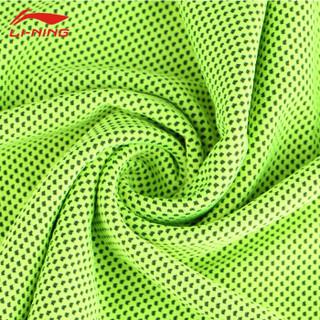李宁冷感运动毛巾健身跑步吸汗冰凉毛巾迅速降温汗冰巾速干擦汗毛巾 荧光绿-桶装