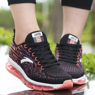ANTA 安踏 92635501 女士全掌气垫鞋 黑/荧光釉粉 35.5