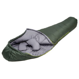 天石(HighRock)户外露营情侣左右互拼成人棉睡袋 -10度 右开 冷杉绿色