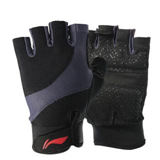 李宁 LI-NING 运动健身半指手套薄 男女夏季透气训练手套 耐磨防滑骑行器械训练护手套 防滑款深灰色M