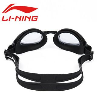 LI-NING 李宁 LSSL123 男士泳裤泳帽泳镜套装 黑色 500度 XL