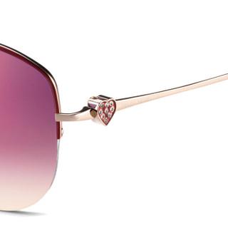 海伦凯勒墨镜 经典飞行员太阳镜女款 甜美心形镶钻 H8347N16 粉色镀膜镜片