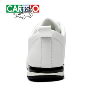 CARTELO 卡帝乐鳄鱼 KDLK19 男士系带休闲皮鞋 白色 40